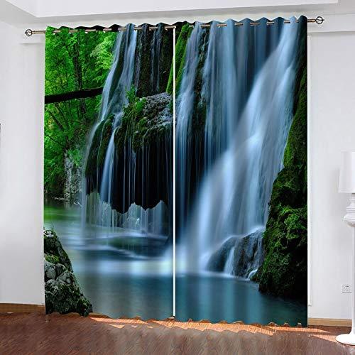 WLHRJ Cortina Opaca en Cocina el Salon dormitorios habitación Infantil 3D Impresión Digital Ojales Cortinas termica - 264x160 cm - Paisaje Natural de Cascada