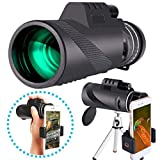 Monocular HD de alta potencia 40x60 con soporte para teléfono inteligente y trípode - [Actualización] Monocular resistente al agua, prisma FMC BAK4 transparente y duradero, lente de vidrio óptico rec