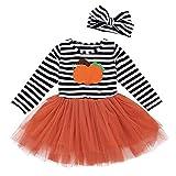 Webla Ropa infantil Halloween – Bebé Niñas Calabaza rayas bordado Halloween vestido + diademas Set