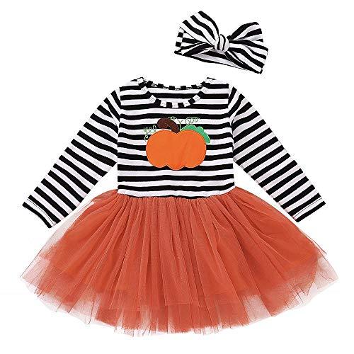 JERFER Kleinkind Kinder Baby Mädchen Kürbis Gestreift Stickerei Halloween Kleid + Stirnbänder einstellen