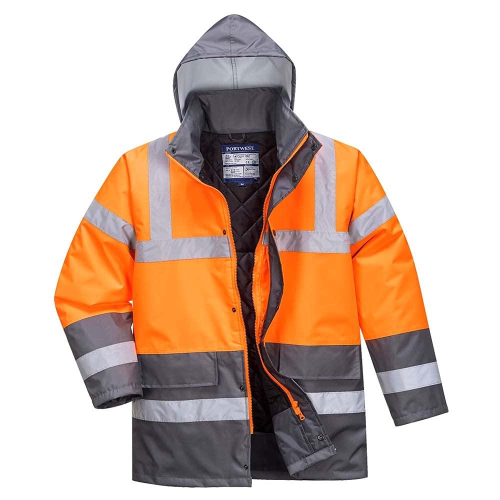 Portwest Workwear S467 Mens Hi-Vis 2-Tone Jacket OrGrey 3 XL