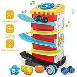 REMOKING Kleinkinder Multifunktion Lernspielzeug, 5 IN 1 Spielhaus mit Formensortierspiel & Auto...
