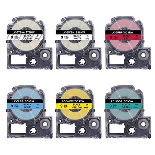 UNOKA 互換 キングジム テプラ テープ 9mm SC9Y SC9G ST9K SS9K SC9R SC9B 透明、白、赤、青、緑、黄地黒文字 6個セット PROテープカートリッジカラーラベル SR550 SR370 長さ8m