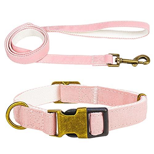 MARMODAY 1 Unidades Collar de Mascota Ajustable Perros Grandes Perros Whelping Cachorros Collares Recién Nacido Tela Metal Bronce Sujetadores Suave Y Cómodo