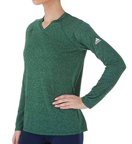 adidas Mujer Climalite camiseta de manga corta Logo, Dark Green Heathered