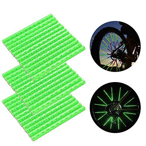 Speichenreflektoren Fahrrad,360° Sichtbarkeit Reflektoren,Fahrradzubehör Reflektoren,Reflektor Clips Fahrrad,Reflektierende Speichensticks,Speichenreflektoren für Sicheres Fahren (36 Stück,Grün)