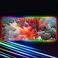 RGBゲーミングラージマウスパッドカラーバブルゲーマー主導コンピューターパッドキーボードデスク用バックライトカーペット付きビッグマットC800x300x4mm