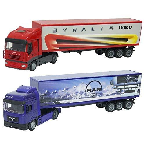 New Ray 1:43 Iveco Stralis Container Modellismo Camion E Bisarca, Multicolore, 0093577156133
