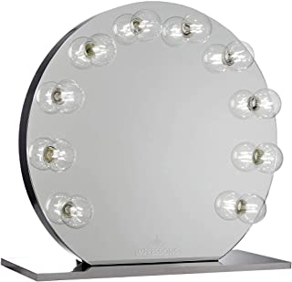 IMPRESSIONS Sunset Vanity Mirror with LED Bulbs, Round Shape Vanity Dressing Mirror with Standing Base and Power Outlet