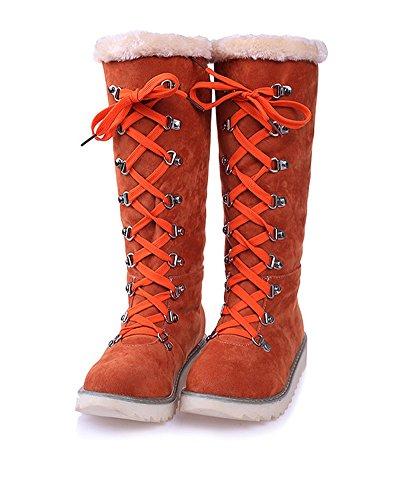 Minetom Damen Schneestiefel Winter Warm Plüsch Wildleder Schnüren Schneeschuhe Beiläufig rutschfest Lang Stiefel Flache Schuhe Boots Orange EU 40