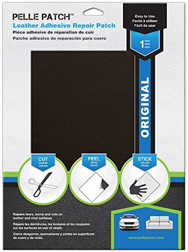 Pelle Patch - Pièce adhésive de réparation de Cuir et Vinyle - 25 Couleurs Disponibles - Original 20cm x 28cm - Marron Foncé