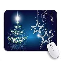 ROSECNY 可愛いマウスパッド ブルーメリークリスマスシルバーぶら下げハッピーホリデー降雪星滑り止めゴムバッキングコンピューターマウスパッドノートブックマウスマット