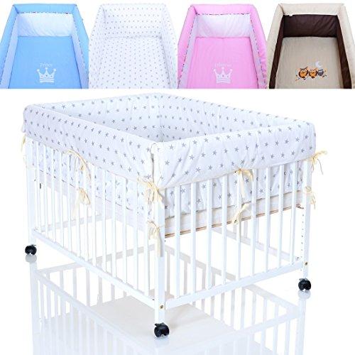 Laufgittereinlage - Baby Bett Nestchen Set Sterne grau für 100x75 Laufstall