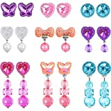 Hicarer 9 Pairs Girls Clip-on Earrings Pretend Princess Play Earrings Jewelry Set (Style 5)