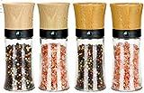 freiwerk macinapepe macinapepe Set di 4 macinacaffè in Ceramica - Senza Contenuto di spezie - Legno di faggio da 150 ml e Legno di bambù