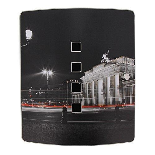 BURG-WÄCHTER, Armoire à Clés Murale avec Motif, 6204/10 Ni Berlin Nuit, 10 Crochets, Serrure Magnétique Pratique, Corps en Acier Galvanisé, Hauteur: 240 mm