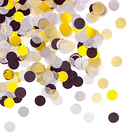 Oblique-Unique® Papier Konfetti Schwarz Gold Grau Weiß Tisch Deko Streu Dekoration für Geburtstag Feier Party Hochzeit JGA Jubiläum