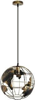 Globe World Map Pendant Light Industrial Retro Metal Lamp Shade Loft Bar Ceiling Hanging Lamp for Kitchen Lounge Restauran...