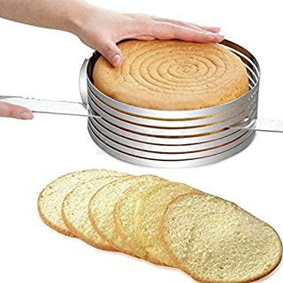 EMIRACLEZE Layered Slicer Cake Ring Adjustable 9-12 Inches Round Stainless Steel Circular Baking Tool Kit Mousse Mould Slicing DIY Cutter