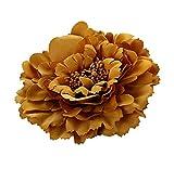 Cheerlife 2 Stück Frauen Baby Mädchen Kinder Blumen Ansteckblume Haarblume Haarspangen Set Schleife Haarschmuck Pfingstrose Braun