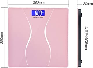 CS-YZC Digital Weight Scale, Household Bathroom Floor Scale High Precision Measurement 6mm Tempered Glass, LCD Backlit Display durable (Color : Blue) scales for body weight (Color : Pink)
