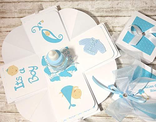 Geldgeschenk Geschenkverpackung Geschenkschachtel Geschenk zur Geburt Baby Junge Explosionsbox handgefertigt