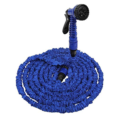 XUDREZ Kit de manguera de jardín expandible, manguera de jardín flexible y elástica, manguera de agua elástica con boquilla para plantas de riego de jardín al aire libre (azul, 45 m)