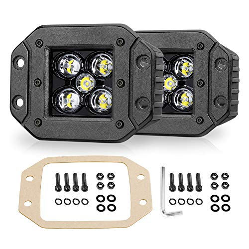 Niwaker Flush Mount LED Pods, 2pcs 5'' 100W LED Driving Lights LED Work Light Spot Beam Flush Mount LED Lights Super Bright Off Road Lights for Truck ATV UTV Boat 4x4 Grill Mount