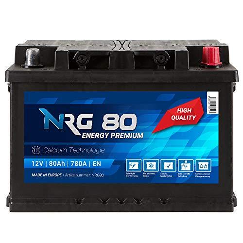 NRG Premium Autobatterie 12V 80Ah 780A/EN Batterie ersetzt 70AH 72AH 74AH 75AH 76AH 77AH
