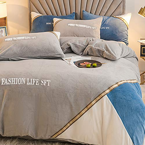 Modern Reversible Bedding Set Queen,4pc Luxury Soft Quilt Cover,Flannel Velvet Duvet Cover Plush Quilted Comforter Cover