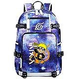 ZZGOO-LL Uzumaki Naruto/Sharingan USB Anime Mochilas Backpack Escolar para Hombres Mujeres Trabajo, Tableta Unisex-C