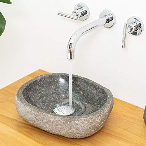 wohnfreuden Naturstein Waschbecken klein ca. 30 cm (28 bis 35) aus Flussstein Handarbeit Unikat für Gäste WC oder kleines Bad