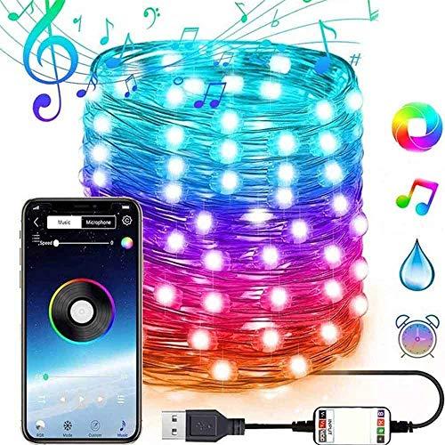 LZZZWER Nuovo Natale Albero di Natale Decorazione Luce RGB Point Control, LED Multifunzionale USB String Lights Luci Natalizie Colorate con App (20 M 200 LED luci)