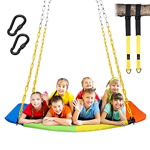 Trekassy 1000lbs Giant 60  Skycurve Platform Tree Swing for Kids and Adults with Heavy Duty Chains Plastic Coated, Textilene Wear- Resistant and 2pcs 10ft Tree Hanging Straps