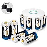 Keenstone CR123A Battery 3.7V 700mAh Li-ion 8 PCS with 8 Slot Charger for Arlo Security Cameras VMC3030/VMK3200/VMS3330/3430/3530