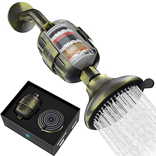 SparkPod Filter Shower Head - High-Pressure Water Filtration for Chlorine & Harmful Substances (Reduces Eczema & Dandruff) - Adjustable & Easy-to-Install (Antique Brass)