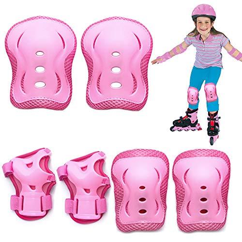 Rodilleras para niños,Juego de Protecciones Infantil, 6 en 1 de Rodilleras para Protectores Rodilleras Codos Muñecas, Adecuado para Monopatín, Skate, Patines, Patinaje, Scooter, Bicicleta (Rosa)