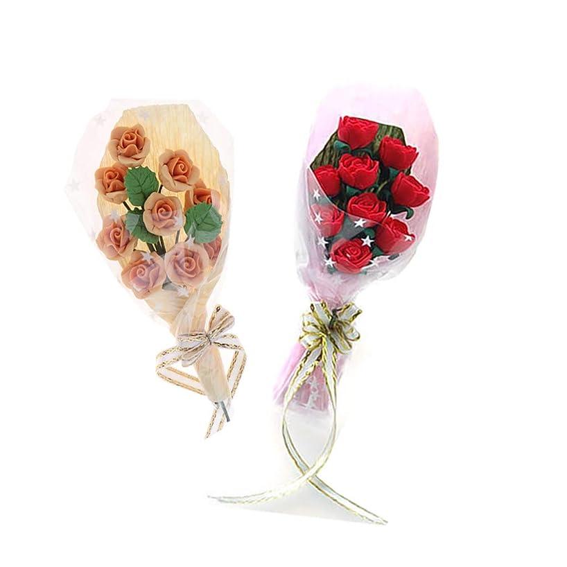 Prettyia 2pcs 1/12 Scale Dollhouse Miniature Clay Rose Flower Bouquet Dolls House Ornaments
