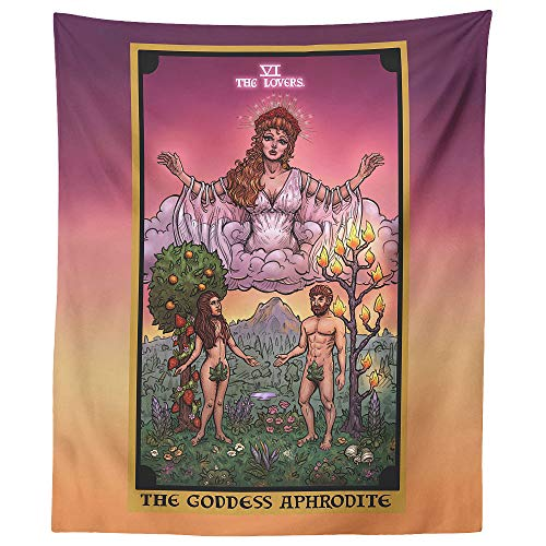 The Goddess Aphrodite The Lovers Tarot Card Tapestry - Greek Mythology Pagan Witchcraft Altar Home Decor (60' x 50')