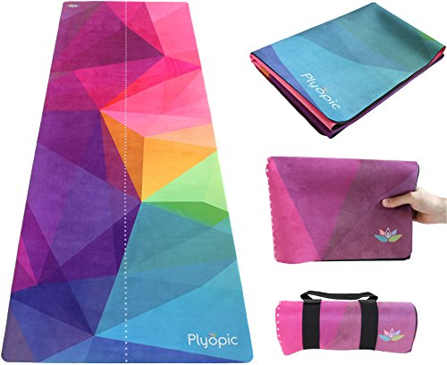 Plyopic Travel Yoga Mat   Lightweight Foldable 3-in-1 Mat/Towel. Luxury Sweat-Grip for Yoga, Pilates, Fitness and Exercise   Portable and Eco-Friendly