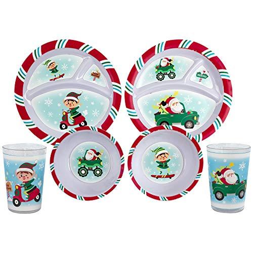 Christmas Holiday Santa & Elf Melamine 3 Section Plates & Bowls With Tumblers (2 Plates, 2 Bowls & 2 Tumblers)