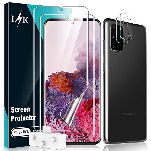 """L K [4 Pack] 2 Pack Protector de Pantalla (Película Protectora de TPU) & 2 Pack Protector de Lente de Cámara para Samsung Galaxy S20 Plus 6.7"""", Sin Burbujas Huella Digital Ultrasónica Alta Definición"""
