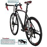 Eurobike Road Bike XC550 21 Speed 54 Cm Frame 700C Mag Wheels Road Bicycle Dual Disc Brake Bicycle Blackwhite