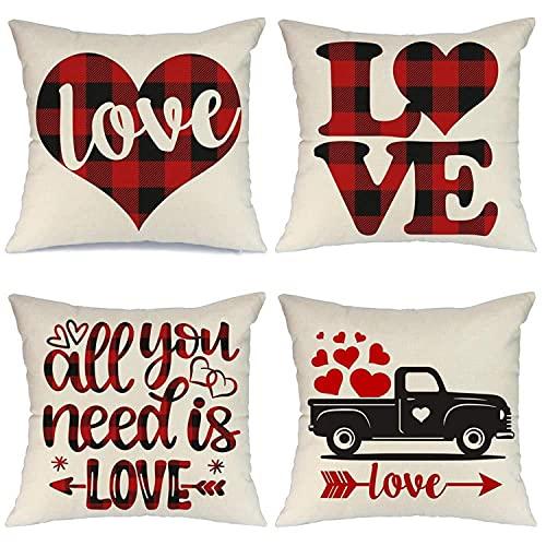 HONGEYO Juego de 4 fundas de cojín para el día de San Valentín, diseño romántico de corazón y citas. Funda de almohada para sofá, cama, silla, 45 x 45 cm.