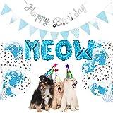 Suministros de fiesta de cumpleaños para mascotas Banners de cumpleaños para gatos maullidos Globos Kit de decoración para gatos Gatitos Fiesta Decoración