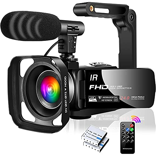 Videocamara Videocámara FHD 1080P 30FPS Vlogging Cámara IR Visión NocturnaVideocamara con Zoom Digital 16X para Youtube, con Micrófono, Estabilizador, Parasol para lente