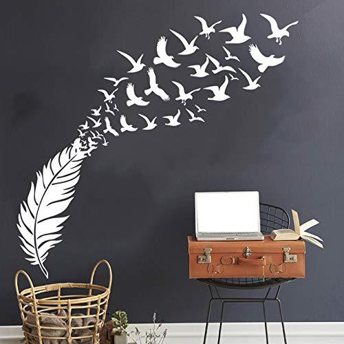 Wrattenmuursticker Literaire stijl, Vogel Veer Gesneden Muur Vasthouden aan Nordic Woonkamer Wanddecoratie