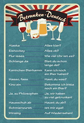 Schatzmix Betrunken-Deutsch Getränkekarte Bar Metallschild Wanddeko 20x30 tin Sign Blechschild, Mehrfarbig, 20x30 cm