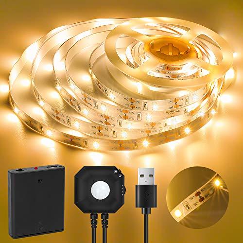 Tira de LED con sensor de movimiento, tira LED adhesiva de 3 metros, blanca cálida de 3500 K, 2835 LED para armario, guardarropa, cocina