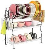 Escurreplatos con cesta para cubiertos y bandeja de goteo para platos y cubiertos, 56,4 x 23,9 x 51,5 cm